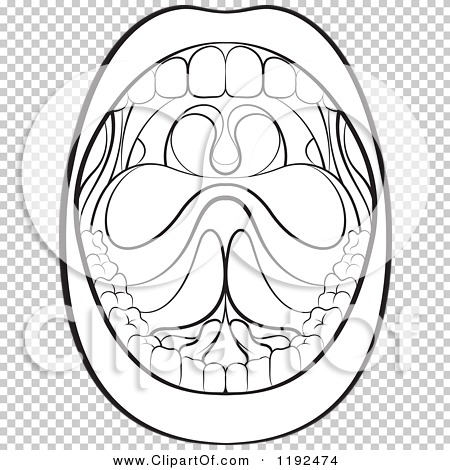 Clipart of a Black and White Wide Open Mouth.
