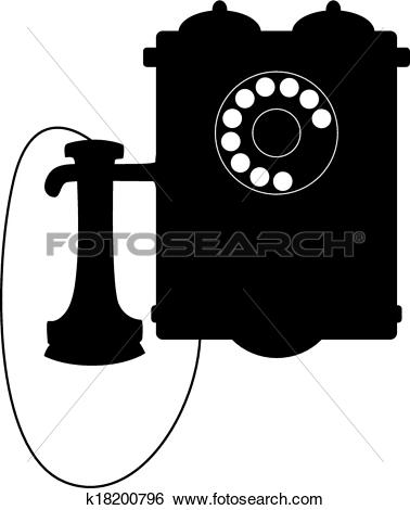 Clip Art of Vintage rotary telephone with a mouthpiece k18200796.