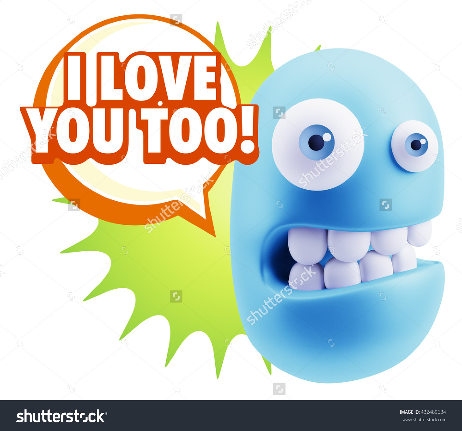 3d Illustration Laughing Character Emoji Expression Stock.