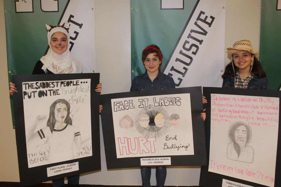 Middle school students display anti.