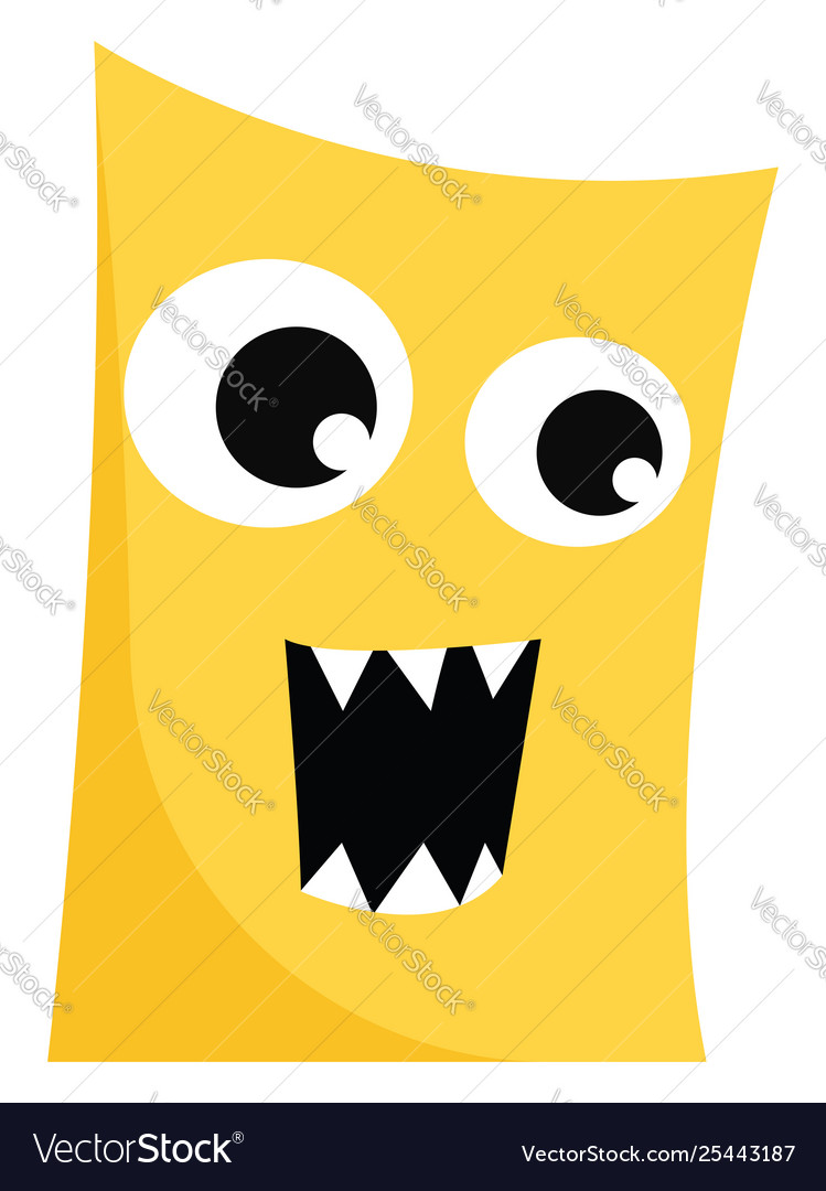 Clipart a ferocious yellow monster with mouth.