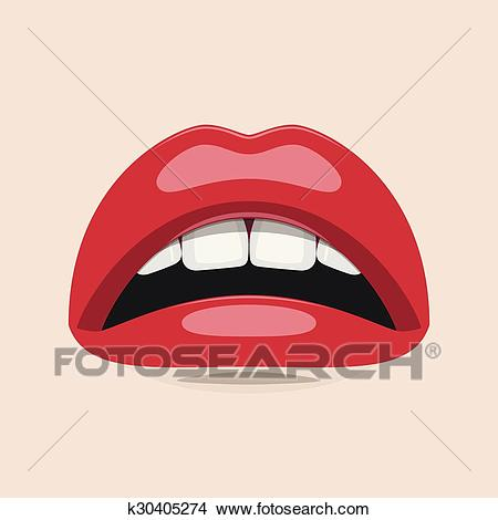 Vector Woman Mouth with white Teeth and red Lips Clipart.