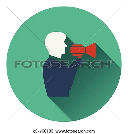 Clipart of Icon of Man with mouthpiece k37768133.