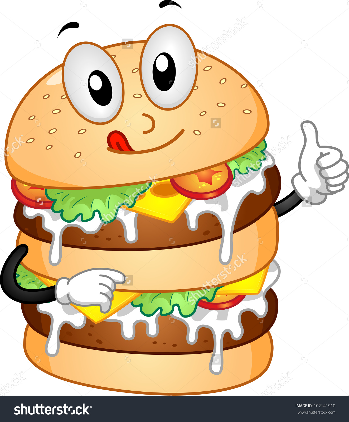 Mascot Illustration Featuring Burger Double Patties Stock Vector.