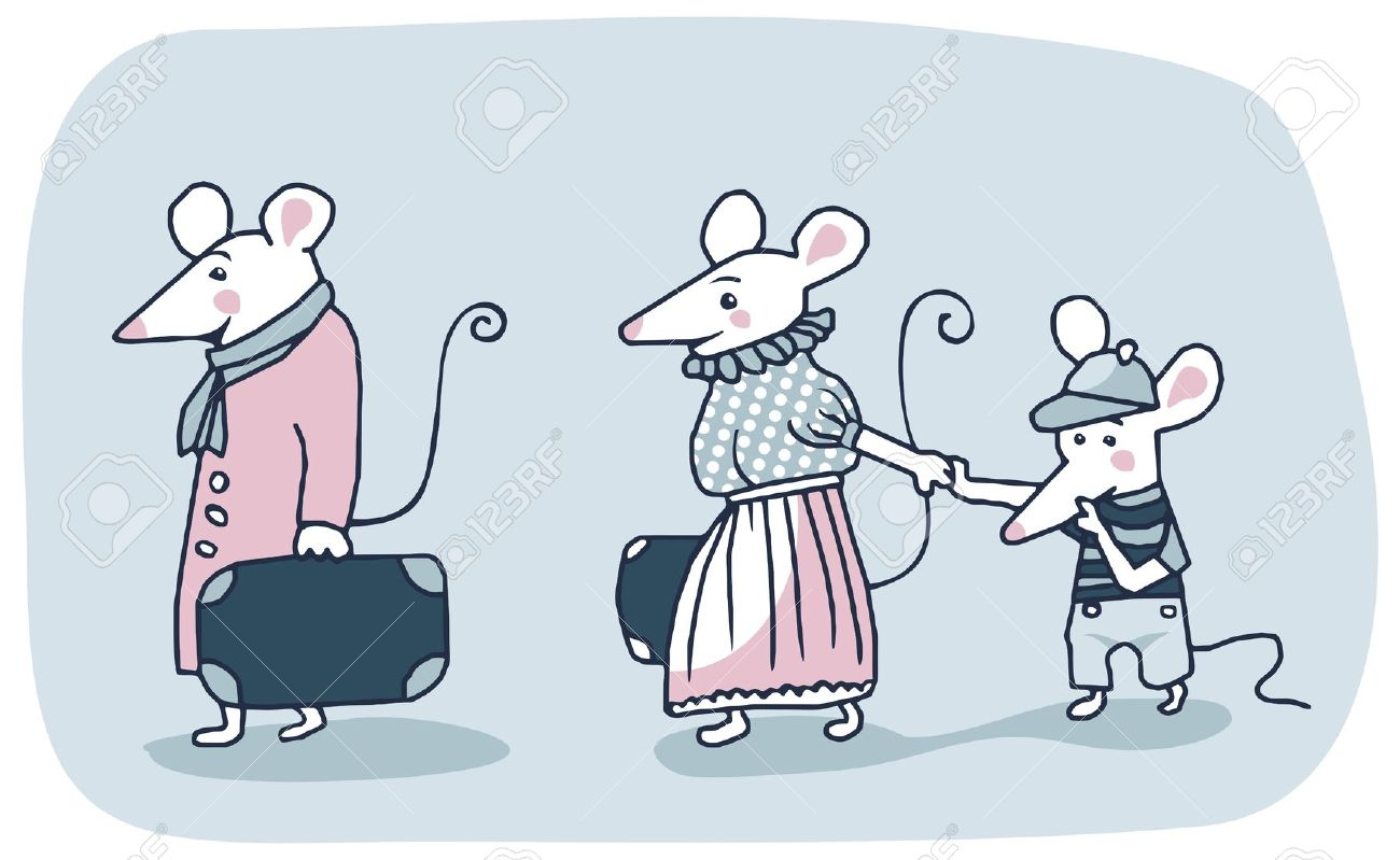 Cartoon Of A White Mice Family Moving Out Royalty Free Cliparts.