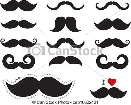 Vector Clipart of Moustache / mustache icons.