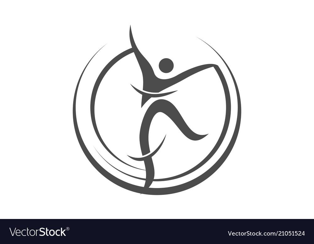Dance movement logo design template.