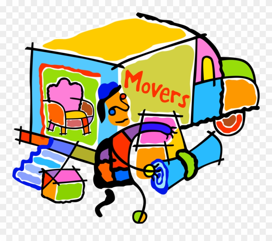Vector Illustration Of Home Moving Company Mover And.