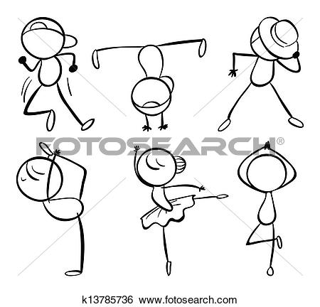 Clip Art of Different dance moves k13784826.