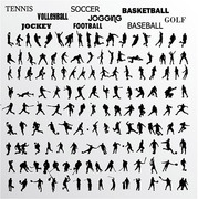 Vector silhouette of various athletes material moves, free vector.