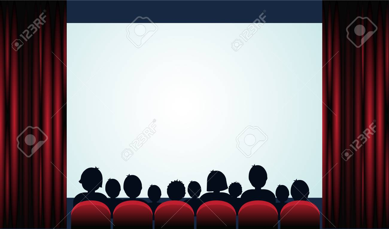 Cinema poster with audience, screen and red curtains .Vector...