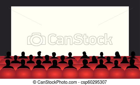 People sit cinema hall. Audience cinema, theater. Crowd of people in the  auditorium, silhouette vector, spectators.