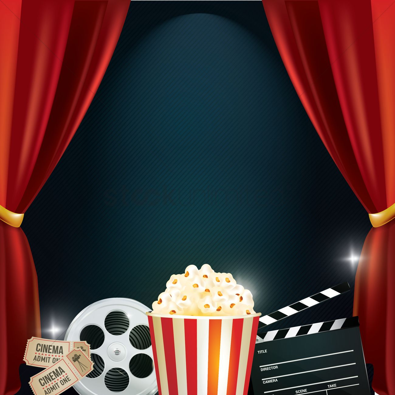 Cinema background with movie objects Vector Image.
