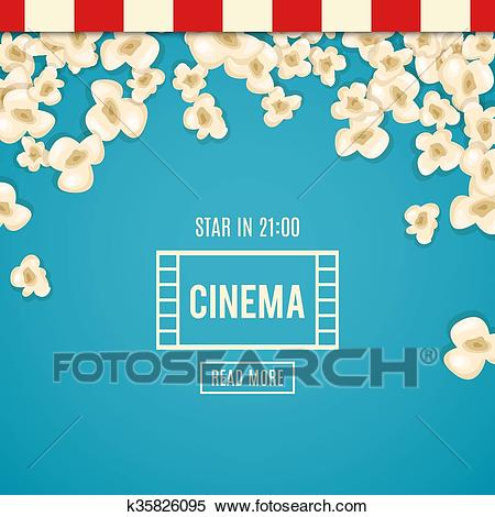 Heap popcorn for movie lies on blue background. Clipart.