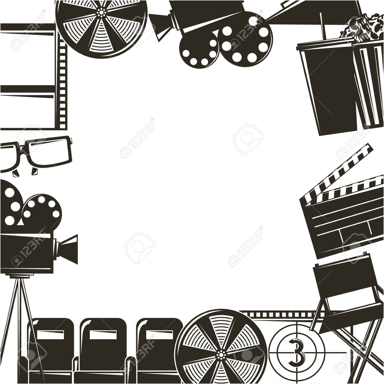Border with cinema movie film equipment icons..