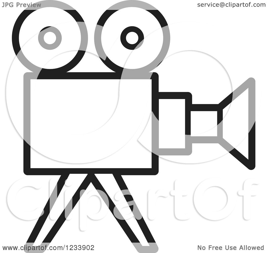 Clipart of a Black and White Movie Camera.