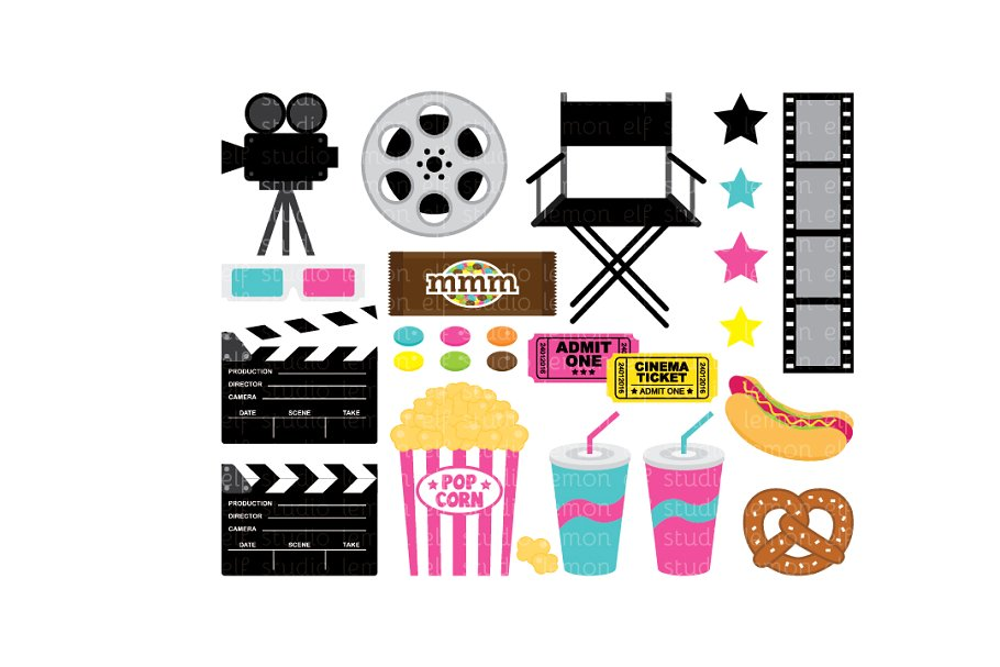 Movie Night Clipart (LES.CL27B).
