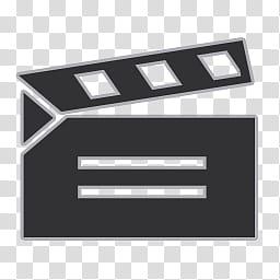 Flat Gray Icons, movie, black clapper board art transparent.