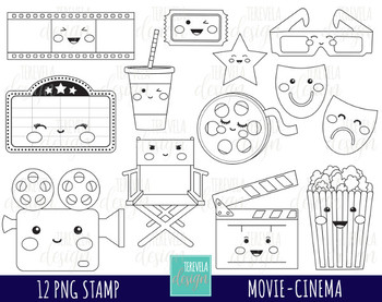 MOVIE clipart, cinema graphics, film clipart, theather, kawaii, BLACK AND  WHITE.