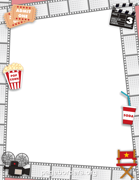 Movie Border: Clip Art, Page Border, and Vector Graphics.