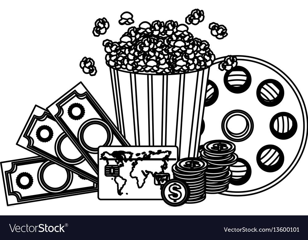 Pop corn clipart movie and money icon.