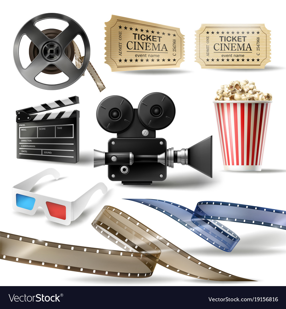 Cinema clipart of 3d realistic objects.