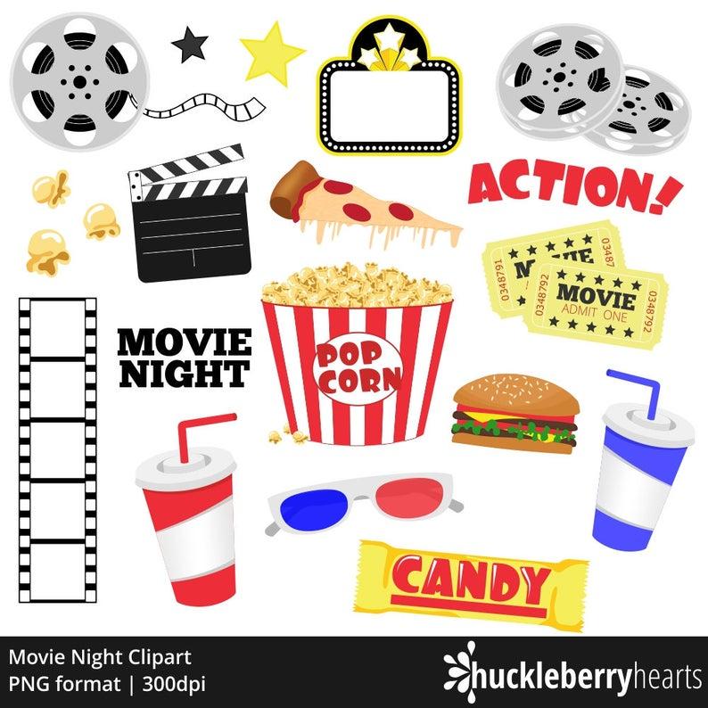 Movie Clipart, Movie Night Clip Art, Popcorn Clipart, Cinema, Theatre,  Printable, Commercial Use.