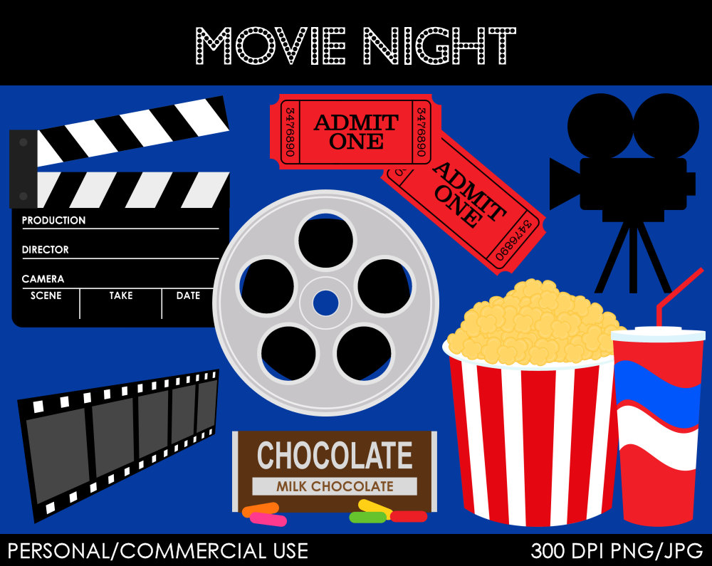 Movie Night Clipart Digital Clip Art Graphics By.