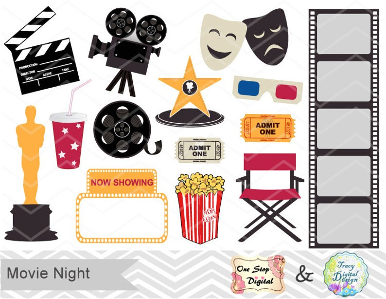 Digital Movie Clip Art Digital Movie Party Clipart Digital Cinema Clip Art  Digital Theater Clipart Digital Hollywood Theme Clip Art 0163.