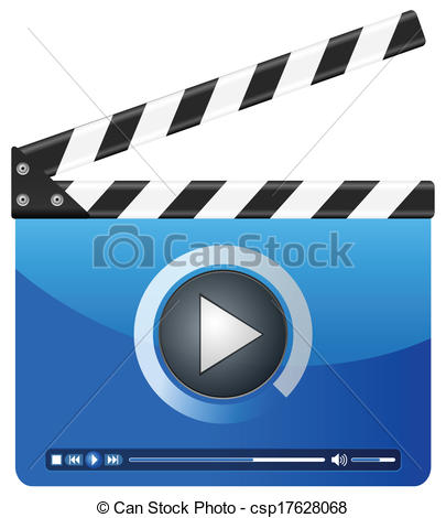 Clip Art Vector of media player clapper board.