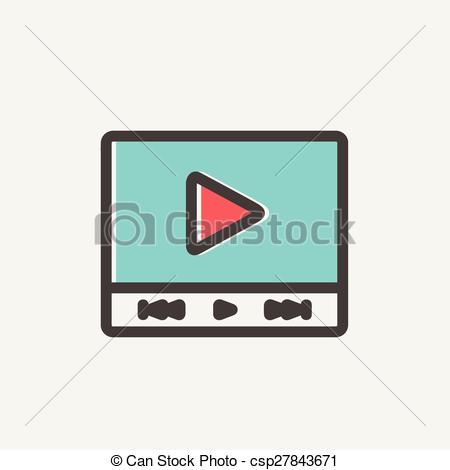 Vectors Illustration of Play sign in movie player thin line icon.