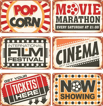 Set of retro cinema tin signs vector art illustration in.