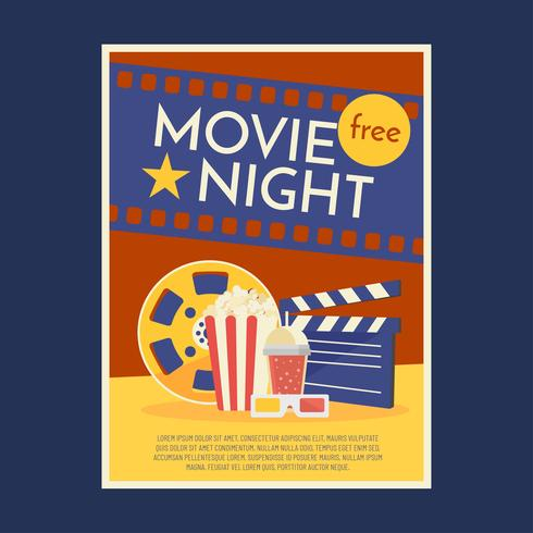 Movie Night Poster Template Vector.