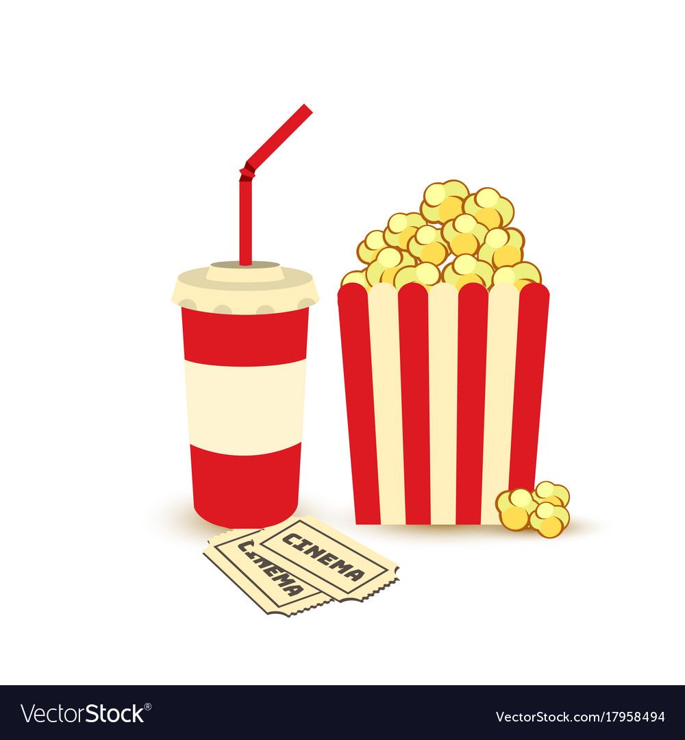 Movie poster template popcorn soda takeaway.