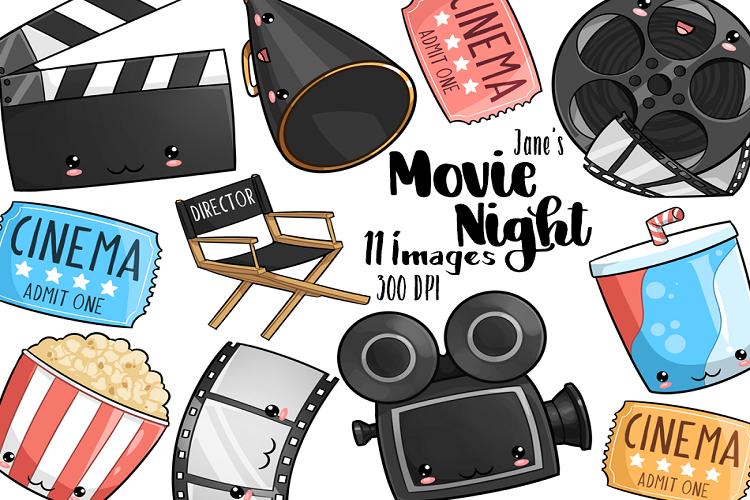 Kawaii Movie Night Clipart.