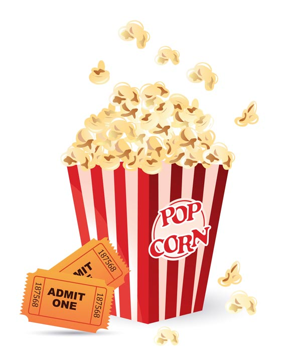 Movie Tickets And Popcorn Clipart.