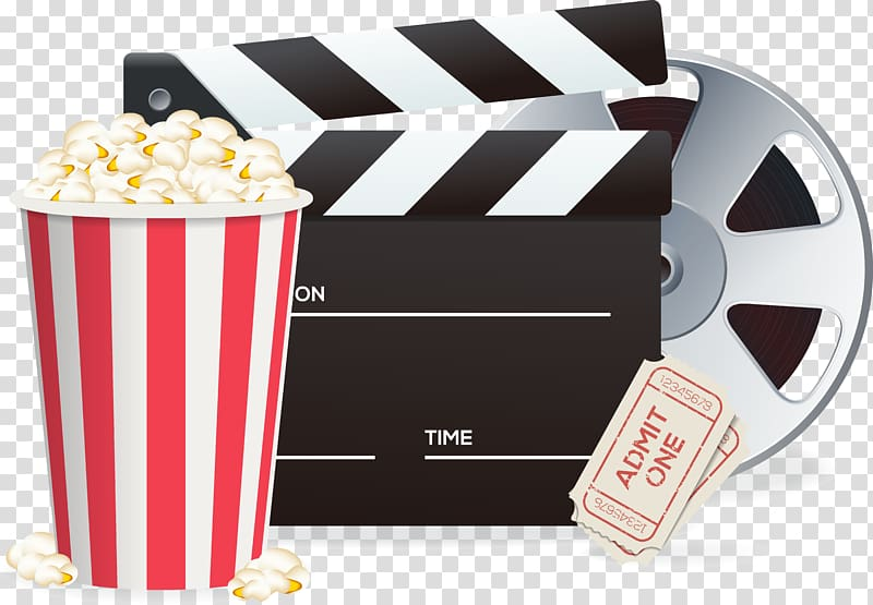 Movie reel and popcorn art, Popcorn Cinema Poster.