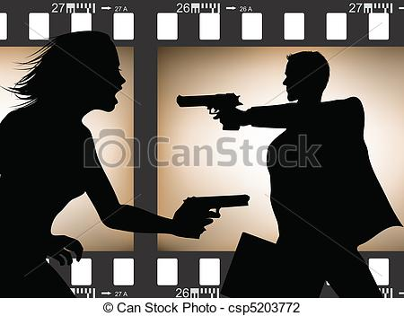 Vector Illustration of Film scene silhouette.