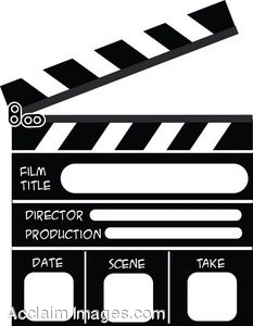 Clip Art of a Movie Scene Clacker.