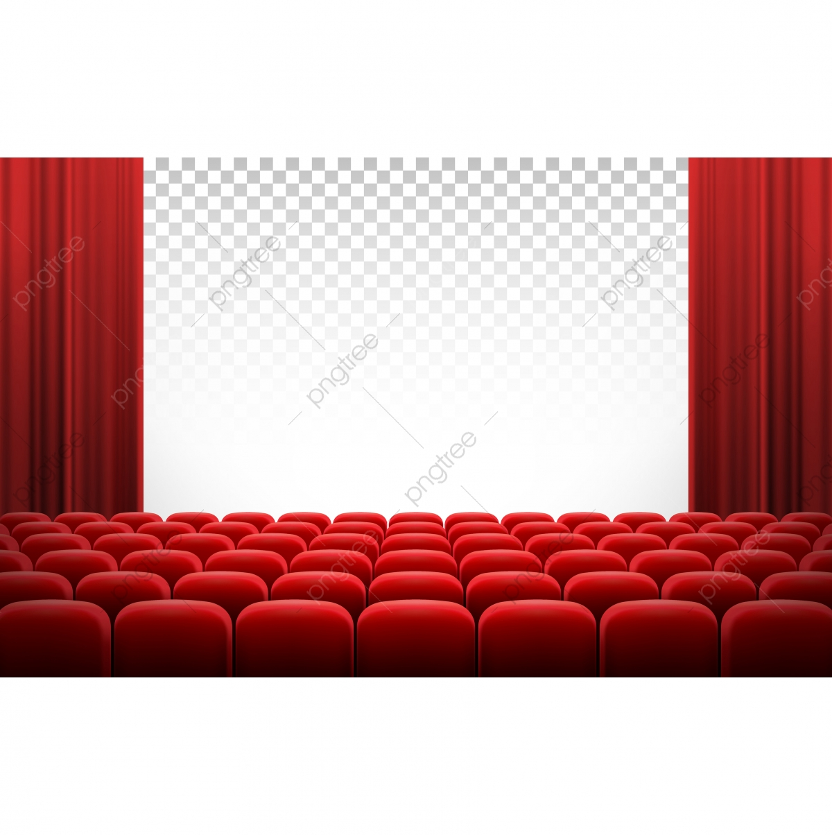 White Cinema Theatre Screen With Red Curtains And Chairs.