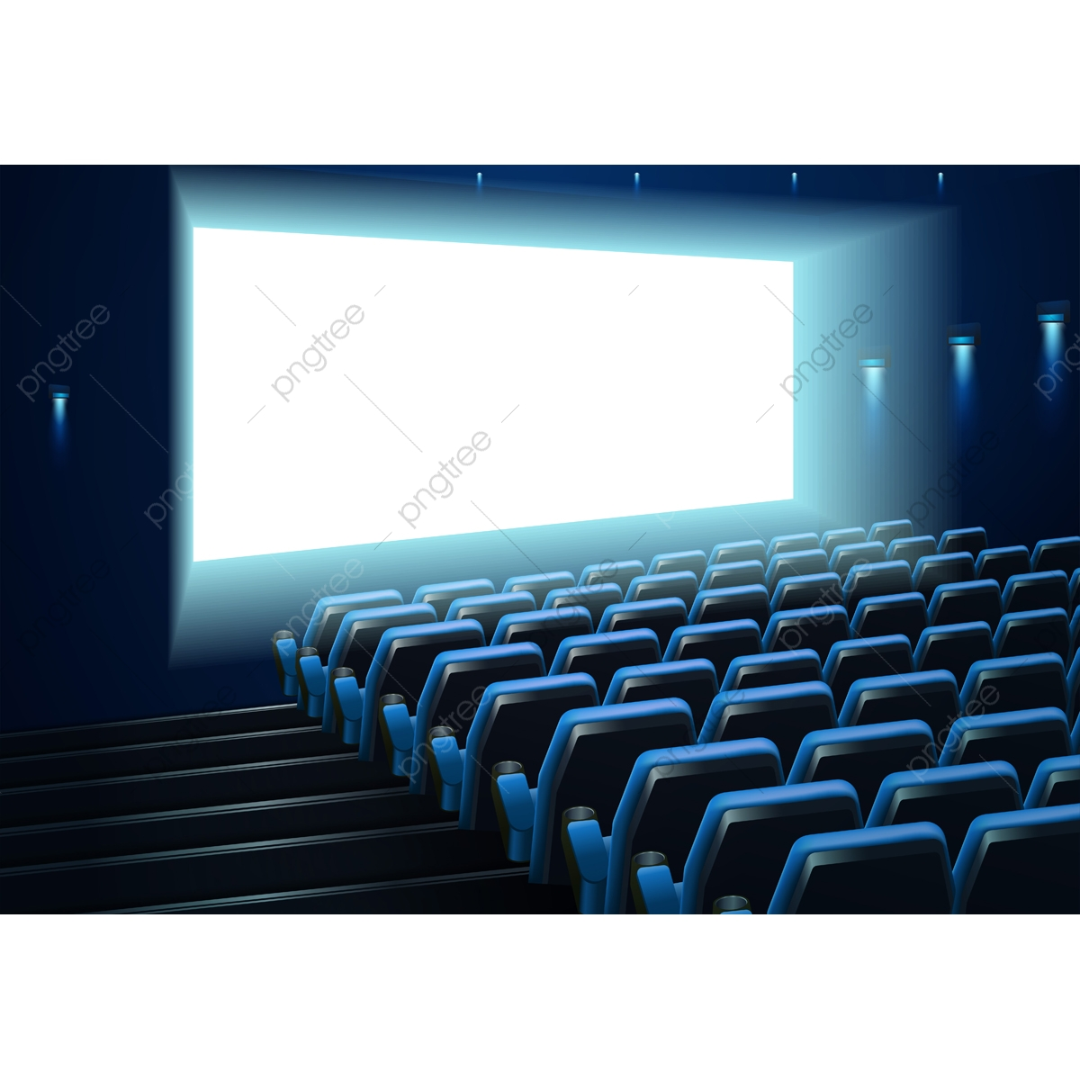 Cinema Screen In Blue Audience, Movie, Cinema, Theater PNG.