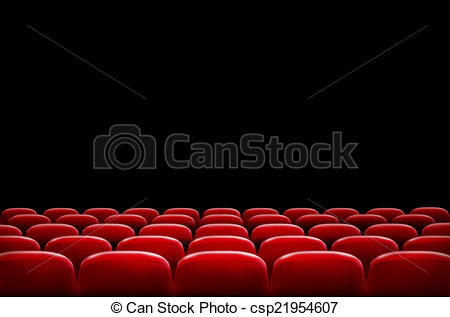 Rows of red cinema or theater seats in front of black screen.