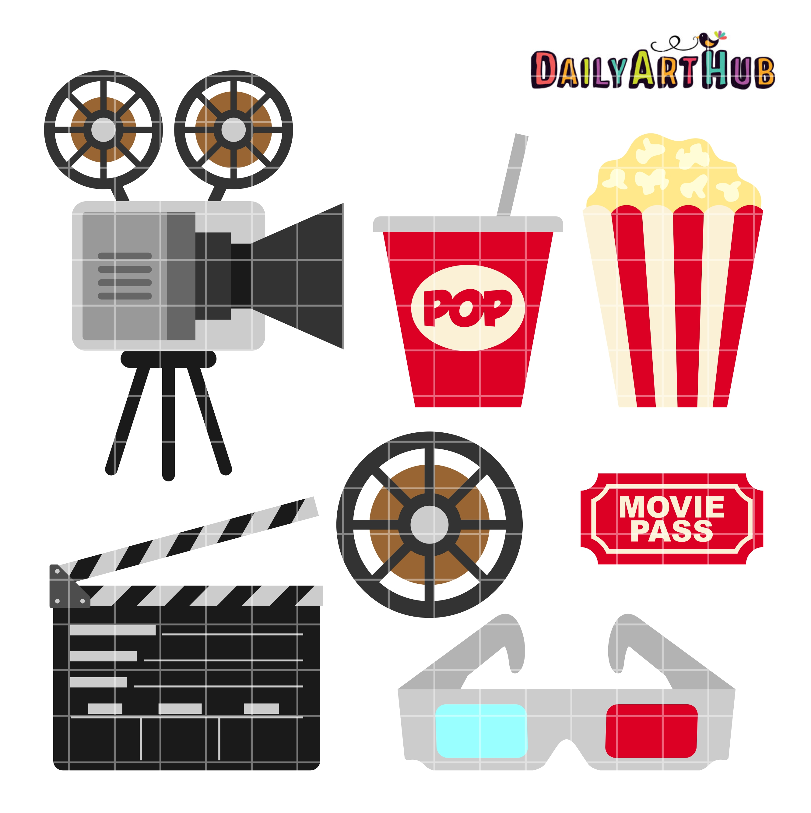 Movie Clip Art Set.
