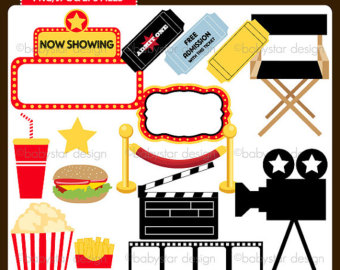 Youth Movie Night Clipart Movie Night Clipart Set Instant Download.