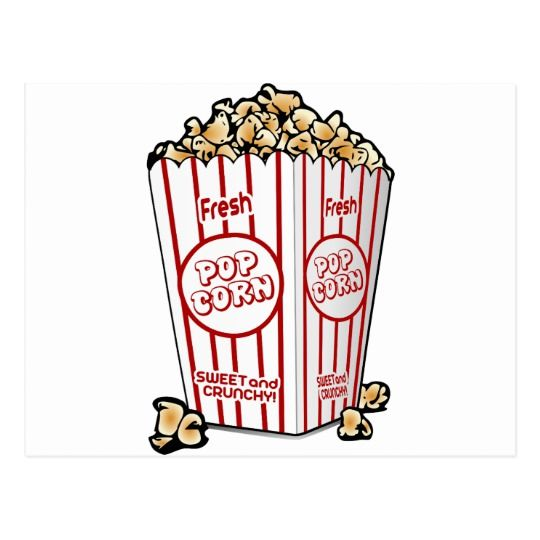 Popcorn corn snack food movie night fun postcard.