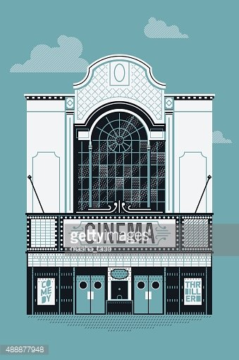 Movie theater building facade Clipart Image.