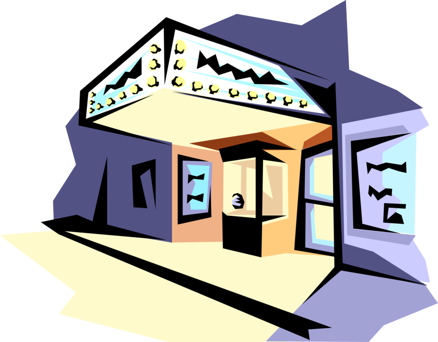 Vector Illustration Of Cinema Movie Theatre Or Theatre.