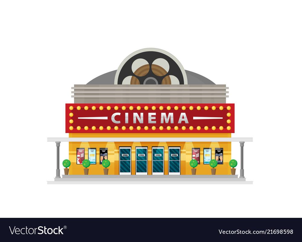 Cinema building flat style movie theater.