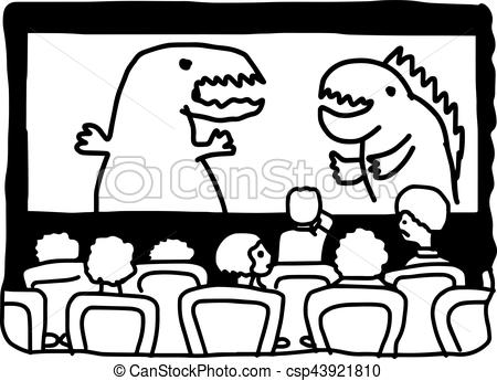 illustation vector hand drawn doodle of movie theater with monster on  screen isolated on white background.