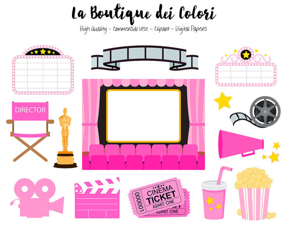 Pink Movie Theater Clip art, Cute Vector graphics.